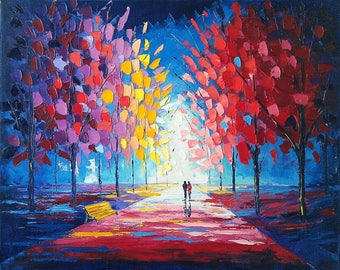 Colorful Autumn Oil painting on canvas palette knife wall art