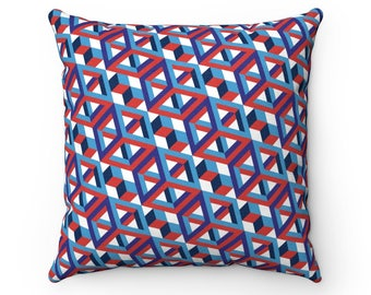 Hextain Pillow  Faux Suede Square Pillow