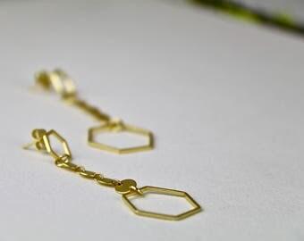 Gold Honeycomb/Hexagon Chain Dangling Earrings.