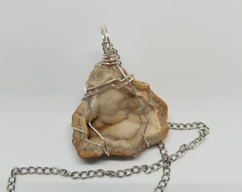 Wire Wrapped Druzy Agate Necklace