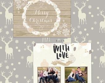 Rustic snowflake Christmas card template