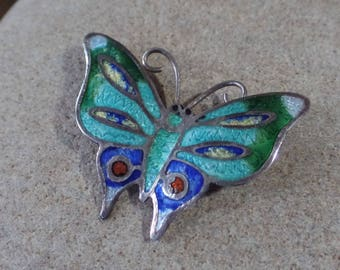 OBO - Vintage Taxco Sterling and Enamel Butterfly