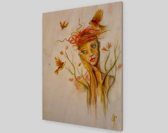 L'amoureuse au nid d'oiseaux - Wood Print