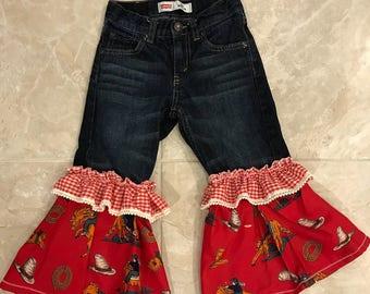 Girls 4 Upcycled Levi Bell bottom Pants