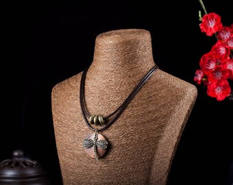 Fashion Vintage Choker Women Necklace - Dragonfly Wooden pendant