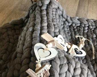 Blanket, Australian Merino wool chunky thick knit