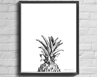 Pineapple Wall Art, Pineapple Decor, Pineapple Printables Art, Black and White Art, Pineapple Head Design, Tropical Print, Printable Art