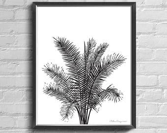 Palm Leaf Print, Palm Leaves Decal, 8x10 Art Print, Minimal Wall Art, Palm Leaf Art, Palm Leaf Decor, Minimalist Art, Black and White Palm
