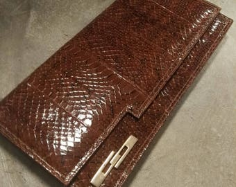 Gorgeous snakes leather bag envelope
