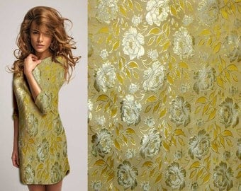 Gold on Gold Chinese Brocade Silk Fabric Motif 29 inch W, By The Yard or Metres or Samples GP-612
