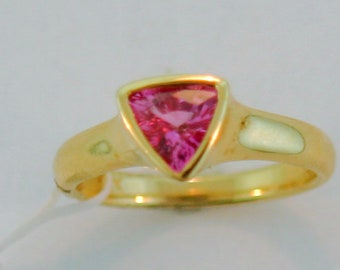 Trilion Cut Pink Sapphire 14k Gold RIng.