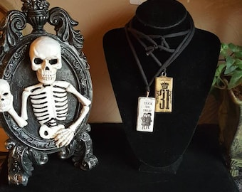 Trick or Treat and Oct 31st Halloween Pendant Necklace