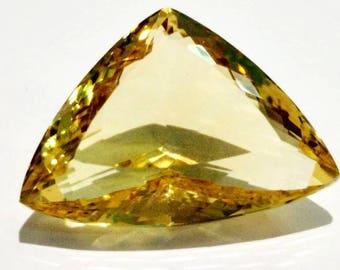 Top Quality of Natural Loose Gemstones Brazilian Citrine Quartz   Cut Trillion Shape 33.20 Carat