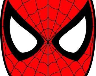 Spiderman Mask Superhero SVG DXF  Logo Scalable Silhouette Studio Transfer Iron on Cut File Cameo Cricut Layered Vector