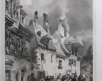 """R.P. Bonington (1802-1828): """"Vue d'une rue des faubourgs de Besançon"""" - [Orig. lithograph, 1827]"""