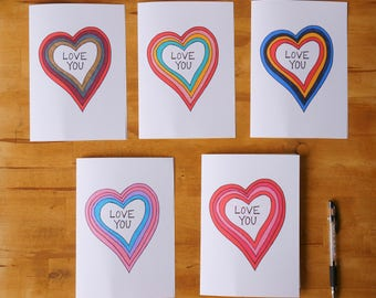 PRINT of LOVE YOU cards