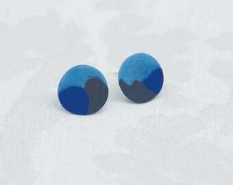 camoflage blue stud earrings