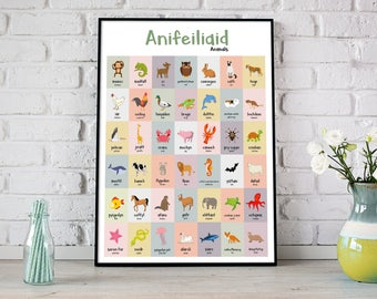 A2 Anifeiliaid/Animal Welsh Translation Print for Children's Bedroom or Playroom