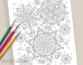 Snowflake. Hearts. Coloring. Coloring Page. Coloring Pages for Kids and Adults. Adult Coloring Pages. Printables. Instant Download.