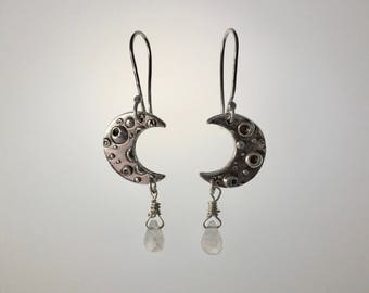 Fine Silver Crescent Moon Earrings with Moonstone briolettes