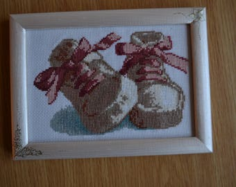 Cross stitch embroidered finished picture with frame -Gift for baby-Gift for newborn-Home decor-Booties
