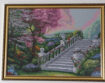 """picture embroidered with beads """"steps"""""""