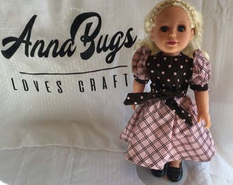 Pink and brown doll dress