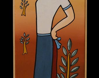 "GREEK LIFE, ""Girl with Pitcher & Doves"", 25x100cm, Mixed Art"