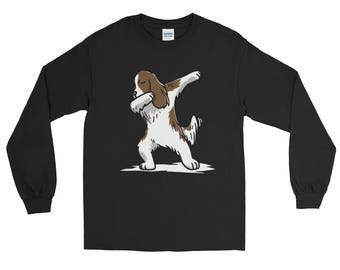 Cute Dabbing English Springer Dog Long Sleeve T-Shirt Funny Dab Dance Gift