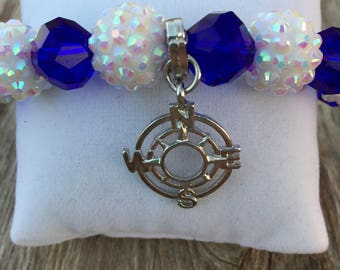 True North - Blue Crystal Glass and White Shambala