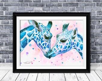 Giraffe watercolor print, blue giraffe wall art, giraffe painting, giraffe poster, giraffe home decor,giraffe illustration,giraffe art print