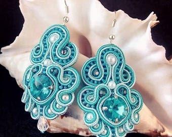Soutache earrings, blue earrings, Еarrings Turquoise