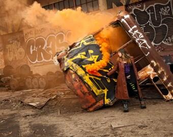 Code Orange- Colored Smoke Bomb Photographic Post Apolocalyptic  Print