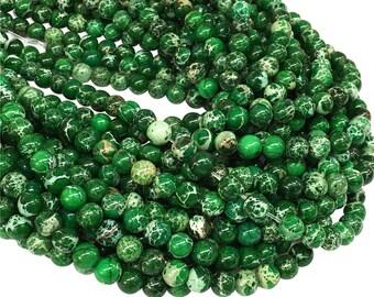impression jasper round beadsdark green beads 6mm 8mm 10mm gemstone beads approx 155