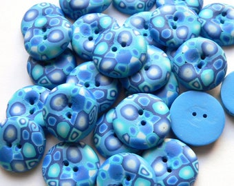 Blue Retro Buttons - handmade in polymer clay