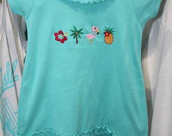 Tropical Girls' Dress // Little Girls' Dress // Swim Coverup // Girls Beach Dress // Hibiscus Palm Tree Flamingo Pineapple