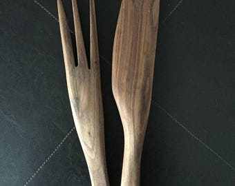 Black Walnut Salad Servers