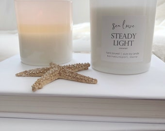 STEADY LIGHT • unscented, soy candle, hand poured soy candle, vegan soy candle, natural candle, Sea Love Candle