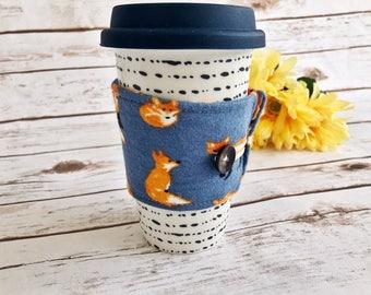 Coffee cozy sleeve - foxes