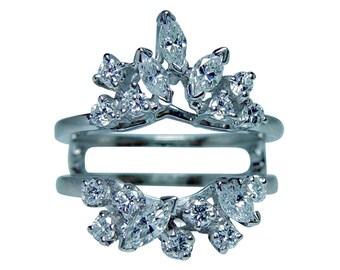 Vintage 14K White Gold Marquise Diamond Wedding Guard Cage Ring  Estate