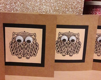 Owl cards. Handmade, small owl cards for all occasions. Set of 4 cards with envelopes. Notelets, thank you cards. Googly eyes owl