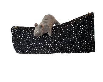 Rat Hammock- Rat Cage Accessories - Black and Teal Snuggle Tunnel Hammock- Sugar Glider Hammock