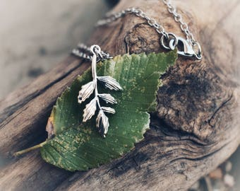 Leaf necklace, branch necklace, The Closet Pagan, Pagan necklace, leaf charm, leaf jewelry