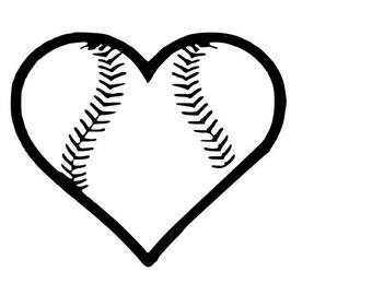 baseball softball heart SVG cutting file