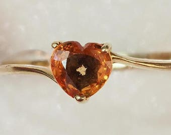14K Yellow Gold Orange Sapphire Heart Shaped Ring, Size 6, Girlfriend Gift, Valentines Day Gift