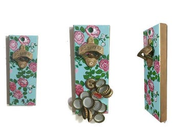 Indoor/Outdoor Magnetic Bottle Opener, Cap Catcher, Hand Painted Floral Design - Roses with a Blue Background and Gold Accents