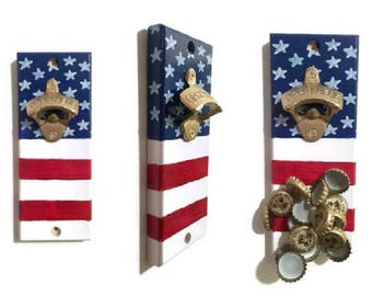 Wall OR Magnetic Mount American Flag Bottle Opener with Magnetic Cap Catcher