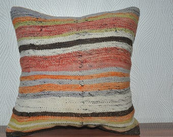 multicolor kilim pillow bedrrom pillow sofa pillow home decor 18x18 ethnic pillow  striped kilim pillow decorative kilim pillow  No 173