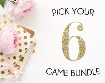 Pick any 6 baby shower games in my shop | Baby shower game bundle | Pink and gold shower games package | It's a girl pink theme shower