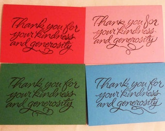 """Set of 4 Cards, Small Thank You Note Cards, 2.75""""x4"""", Made in the USA, #37"""